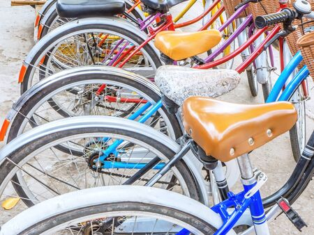 rental: Row of  bicycle at service and bicycle rental