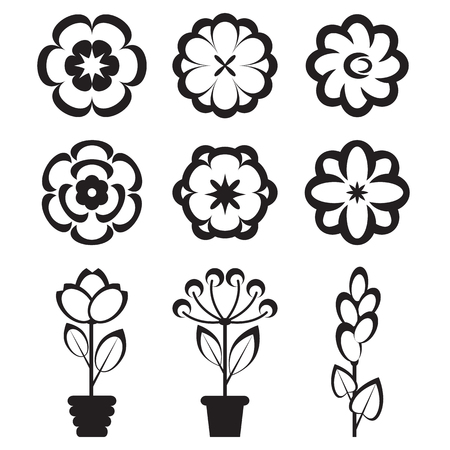 indoor bud: Collection of decorative flower icons for logo design