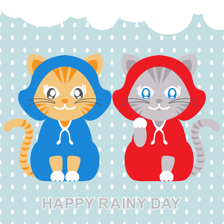 purring: Vector illustration of cats wearing raincoat in rainy day