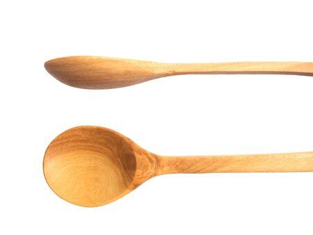 trompo de madera: vista desde arriba y una vista lateral de la cuchara de madera aisladas sobre fondo blanco