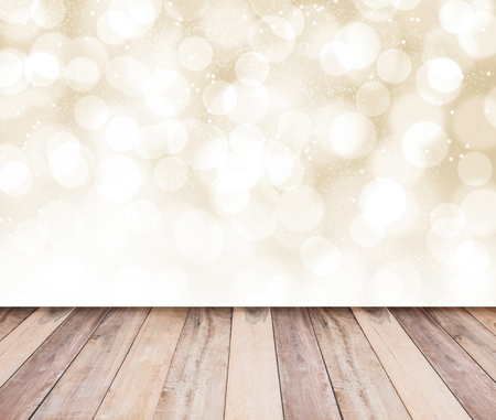 plank: Gold bokeh background and wooden plank floor, abstract background