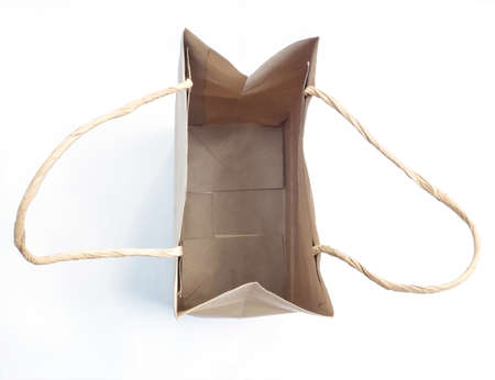opened bag: top view of empty opened brown shopping bag