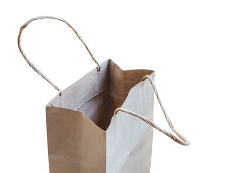 opened bag: empty opened brown shopping bag iaolated on white background Stock Photo