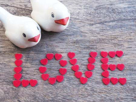 paloma caricatura: un par de aves con una redacci�n amor en la madera para el d�a de San Valent�n fondo