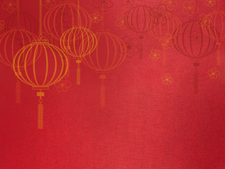 chinese culture: Chinese new year background,Lantern and flower symbol on red silk texture Stock Photo