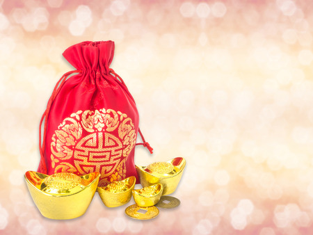 change purses: Red silky money bag with ancient Chinese golden ingots and coin : lucky pouch