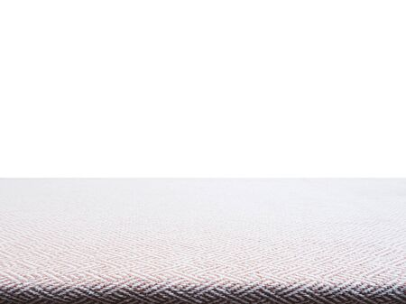 manteles: Beige tweed fabric tablecloth for product display, perspective view