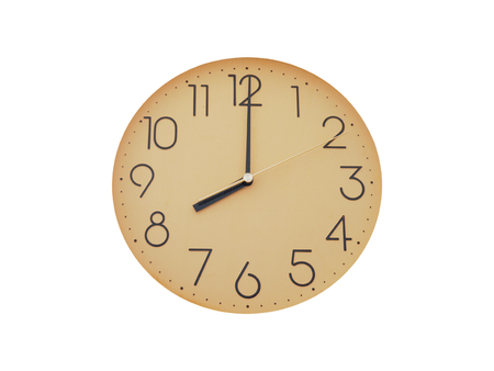 past midnight: Old simple wall clock or watch, isolated on white background Stock Photo