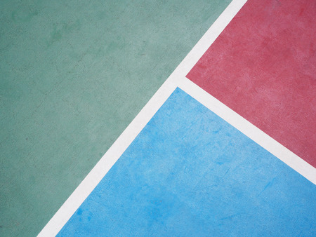 outdoor basketball court: White line on colorful concrete floor of outdoor basketball court.