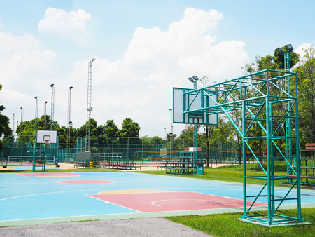 outdoor basketball court: Empty outdoor basketball court in the public park, Thailand.