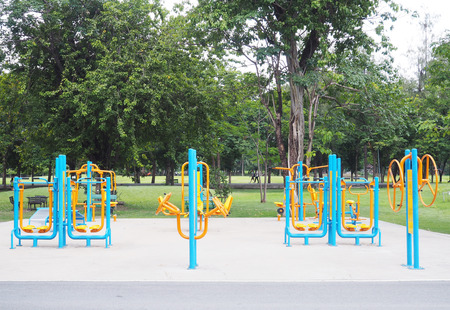 Colorful exercise fitness equipment in public park Stock Photo