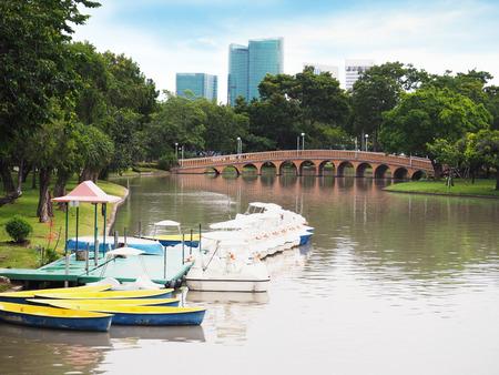 fibra de vidrio: Fibra de vidrio Remo Barcos y botes de pedal en el agua en Jatujak (Chatuchak) parque público en Bangkok, Tailandia