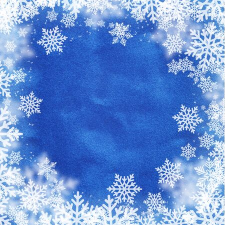 blue velvet: Snowflakes pattern on blue velvet fabric textured. Winter holidays and christmas background concept