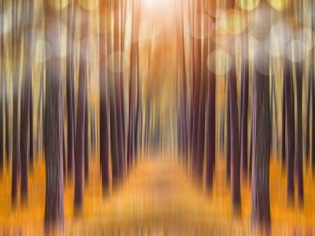 impression: Abstract autumn forest background with blurred motion and bokeh. Stock Photo