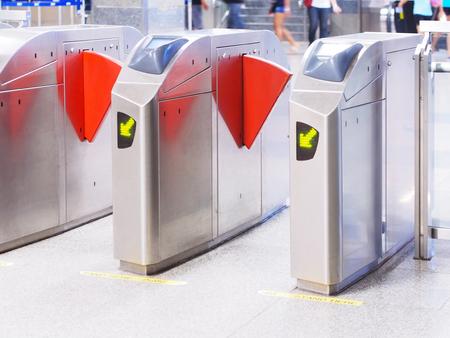 Automatic gate access control at subway station in Bangkok,Thailand