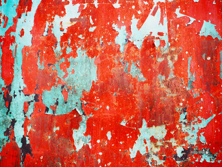 Blue painted rusty metal surface with cracking texture and background Stock Photo