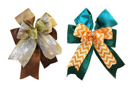 Set of big fancy bow ribbons for Chrismas gift isolated on white background