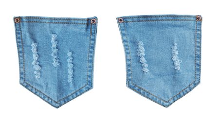 Blue denim pockets jean with ripped torn pattern isolated on white background Stock Photo