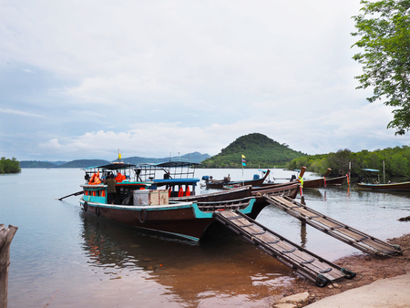 Local ship floating on sea waiting for passenger at the island, Krabi province, Thailand. 写真素材