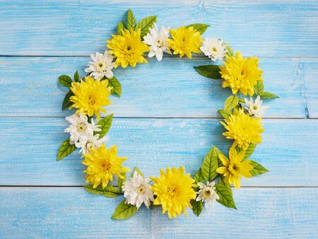 Close up white and yellow chrysanthemum flowers in circle shape on blue wood. Floral wreath background. Flat lay style. 写真素材
