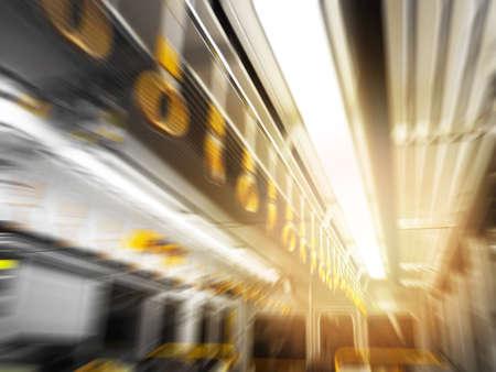 Abstract motion blurred subway train interior background Foto de archivo