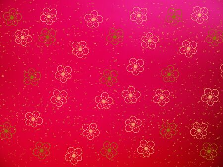 Gold cherry blossom flower shape on red color for Chinese new year card. Floral abstract background.
