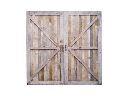 Bouchent la porte fermée en bois de la vieille grange isolée sur fond blanc.