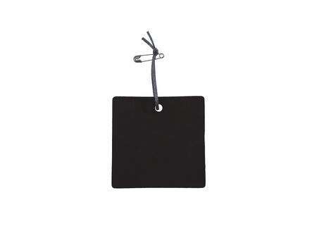 Close up black paper tag with ribbon and brooch for hanging cloth on white background. Standard-Bild