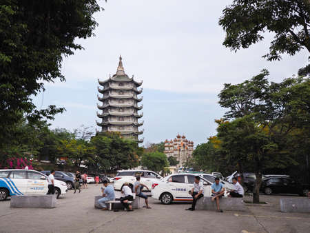 DANANG, VIETNAM - APRIL 03, 2019: Parking lot at the Linh Ung Pagoda, Da nang, Vietnam. Editorial