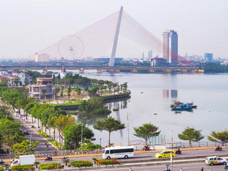DANANG, VIETNAM - APRIL 04, 2019: Landscape of bridge over Han River in the morning at downtown of Da Nang (Danang), Vietnam. Editorial