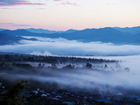 Foggy mountain background in the morning at Yun Lai Viewpoint, Mae Hong Son province, Thailand.