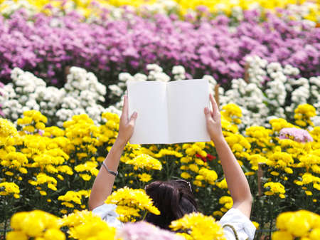 Woman two hands holding blank beige book over yellow Chrysanthemum flowers at plantation farm. Natural spring and summer background.