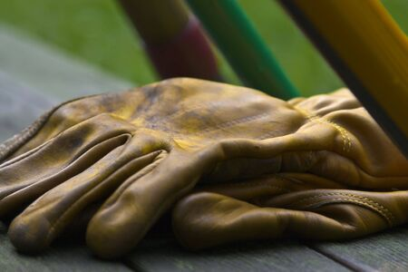 groundskeeper: Yellow leather gardening gloves with tool handles.