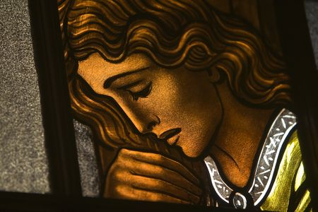 catholocism: Stained-glass window in a Roman Catholic church.