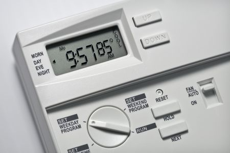 Note-85 degrees is the energy-saving recommended cooling setting for summer when you are not at home. Variations for heating and cooling when home and not home may be available. Stock Photo - 3198648