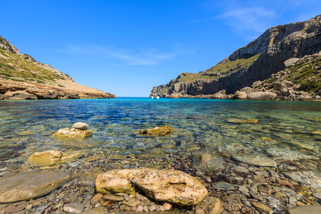 Beautiful bay beach turquoise sea mountains, Cala Figuera on Cap Formentor, Majorca, Spain Stock Photo - 23934370