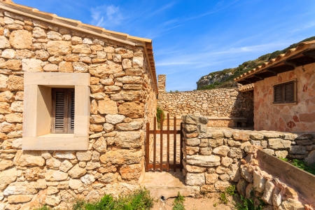 Traditional stone houses, Cala SAlmunia, Majorca island, Spain Stock Photo
