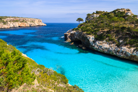 Beautiful beach bay azure sea water, Cala des Moro, Majorca island, Spain photo