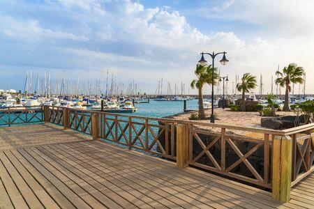 lanzarote: Wooden footbridge in Rubicon port, Playa Blanca town, Lanzarote, Canary Islands, Spain