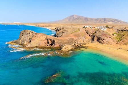 Turquoise ocean water on Papagayo beach, Lanzarote, Canary Islands, Spain Stock Photo