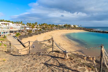 playa blanca: View of Flamingo beach in Playa Blanca on coast of Lanzarote island, Spain