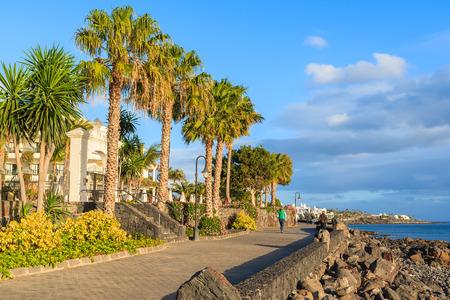 playa blanca: Palm trees on coast of Lanzarote island in Playa Blanca holiday village, Canary Islands, Spain Stock Photo