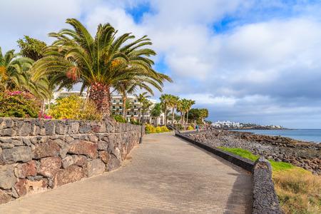 playa blanca: Coastal promenade with palm trees in Playa Blanca village, Lanzarote, Canary Islands, Spain