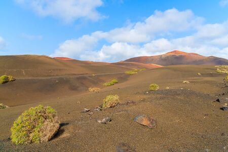 timanfaya: Volcanic mountain landscape in Timanfaya National Park, Lanzarote, Canary Islands, Spain