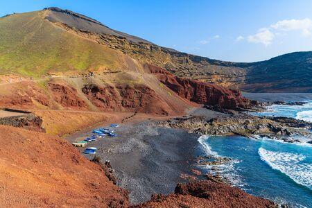 lanzarote: Beach with fishing boats on shore in El Golfo, Lanzarote, Canary Islands, Spain