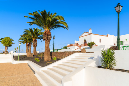 White steps to typical Canarian church in Las Brenas village, Lanzarote, Canary Islands, Spain