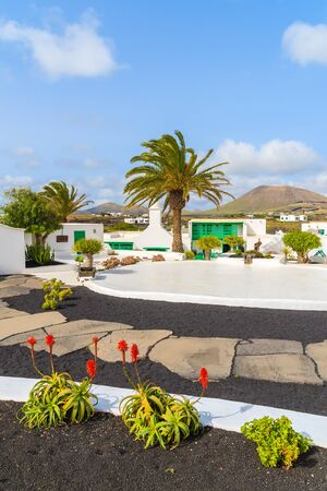 bartolome: Typical Canarian style buildings and tropical plants, El Campesino Monumento, Lanzarote island, Spain
