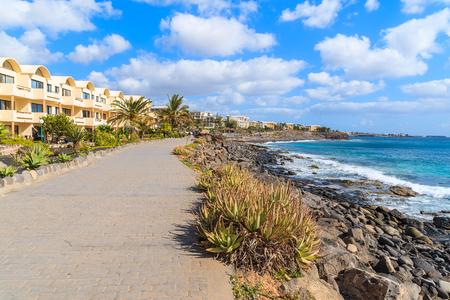 playa blanca: Coastal promenade along ocean in Playa Blanca holiday resort town, Lanzarote island, Spain