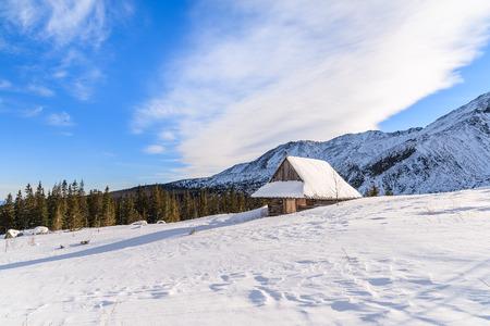 ski walking: Wooden mountain hut in winter landscape of Gasienicowa valley, Tatra Mountains, Poland Stock Photo