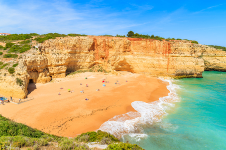 A view of beach in Benagil fishing village on coast of Portugal Stock Photo